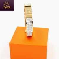 12MM Luxury Stainless Steel Cuff Bracelets Bangles Wristband Full Crystal Bangle H Buckle Classic Brand Bracelets