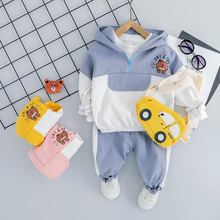 2019 Autumn Baby Girls Boys Clothing Sets Infant Toddler Clothes Suits Bear Hooded Coat Pants Kids Children Costume Suits