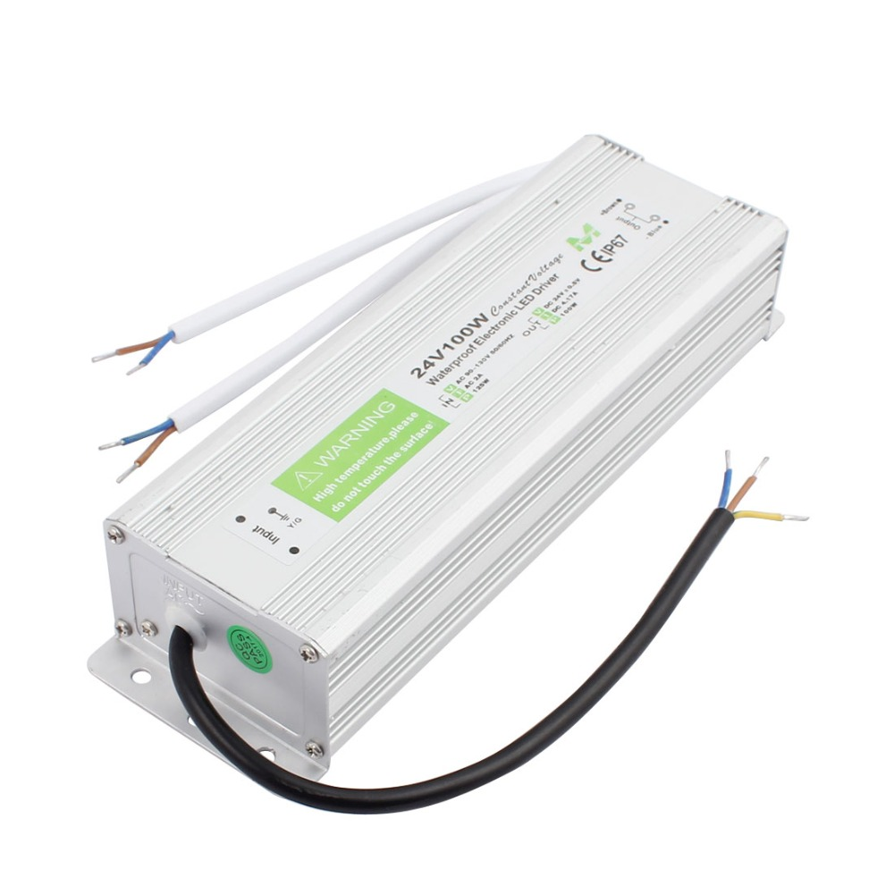 AC 100V-130V to DC 24V 100W IP67 Waterproof Electronic LED Driver Power Supply LED Strip Strings Lamp Transformer Adapter led driver transformer power supply adapter ac110 260v to dc12v 24v 10w 100w waterproof electronic outdoor ip67 led strip lamp