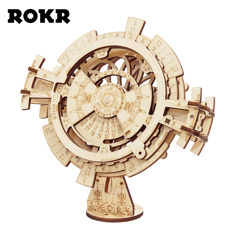 ROKR DIY 3D Wooden Puzzle Mechanical Gear Drive Model Toys Assembly Model Building Kit Toys Gift for Children Adult Teens