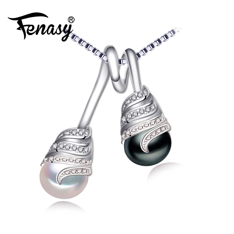 FENASY natural Pearl Jewelry necklaces & pendants double beads ethnic pendant female 925 sterling silver necklace for womenFENASY natural Pearl Jewelry necklaces & pendants double beads ethnic pendant female 925 sterling silver necklace for women