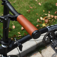 AGEKUSL Leather Bicycle Grips For Brompton Birdy Folding Bike Classic Handlebar Grips 22.2mm Length 128mm 90mm 80mm 70mm Parts