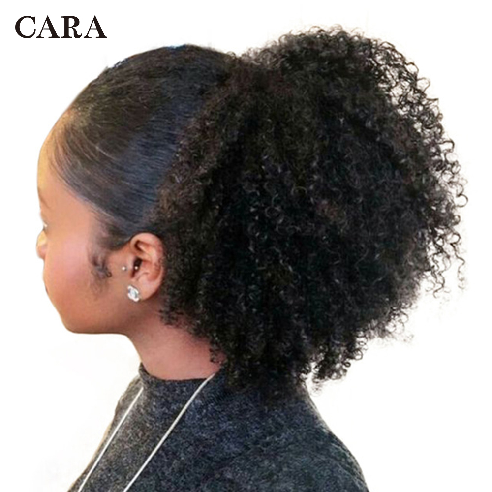 Cordon Queues de Cheval Extensions Mongol Afro Crépus Bouclés Cheveux 4B 4C Clip Dans Les Cheveux Humains Extensions Queue de Cheval Remy Cheveux CARA