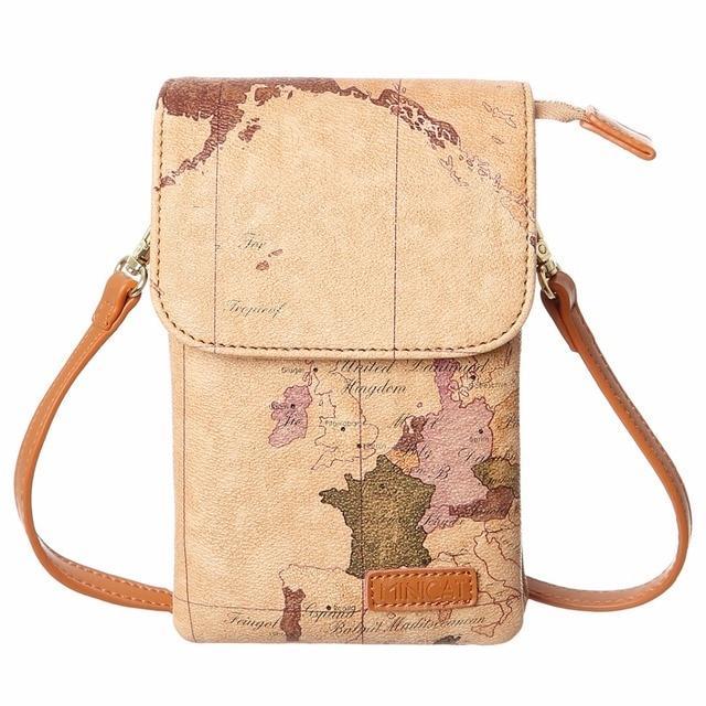 ef032f10fce7 MINICAT World Map Leather Small Crossbody Cell Phone Women s Bag Purse  women Wallet handbags Smartphone Bags For Women