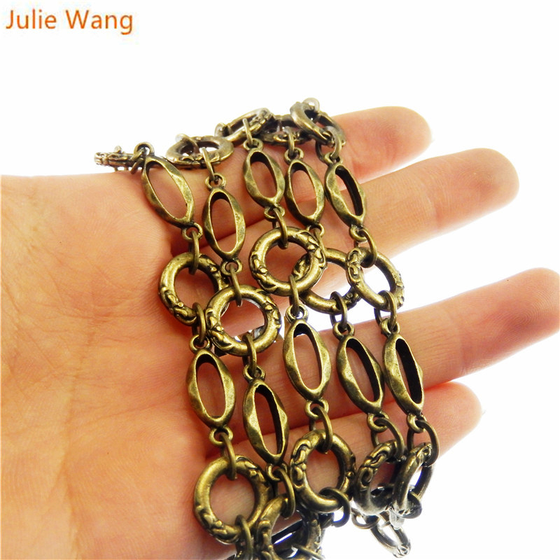 Julie Wang 1 Meter/pack Antique Bronze Vintage Metal Link Chain For Necklace Bracelet Women Decorate Jewelry Making Accessory