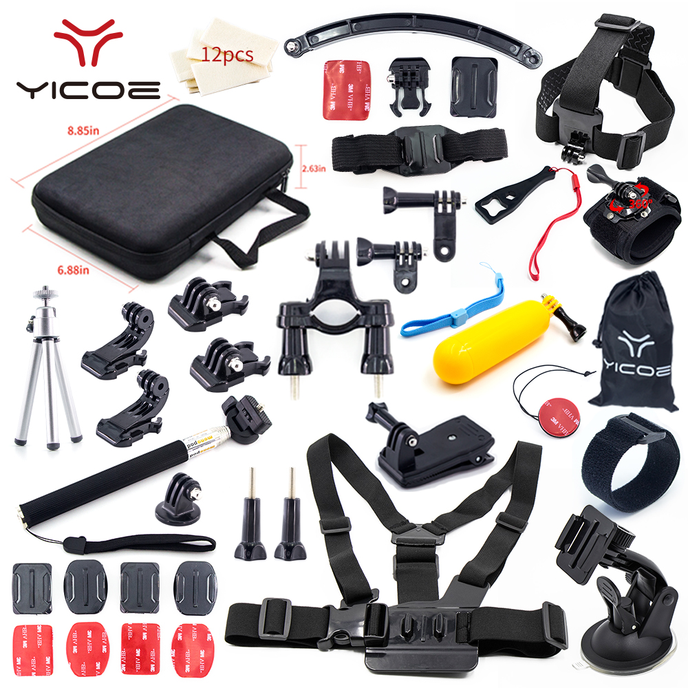for Go Pro Hero Session 6 5 4 3 Accessories Kit Case Helmet Mount Monopod AdapterSJCAM SJ6 SJ4 Xiaomi yi 4k GoPro Action Camera