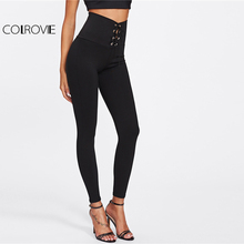 Spring High Waist Skinny Leggings Black Empire Eyelet Lace Up Sexy Leggings Women Elegant Sporting Pants