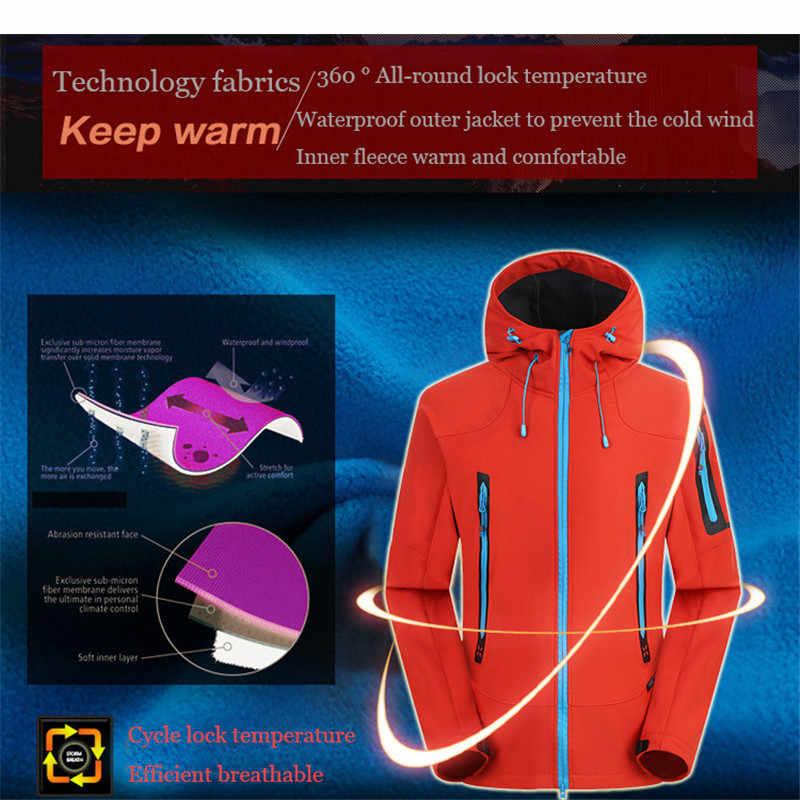 مقاوم للماء سوفتشيل معطف للرياضة الرجال سترة واقية تنفس معطف واقي من المطر في الهواء الطلق الرحلات الصيد التخييم الصوف السترات الدافئة