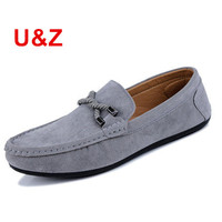 US6 10 Genuine Suede Leather Men S SLIP 0N Loafers Black Navy Grey Casual Driving Shoes