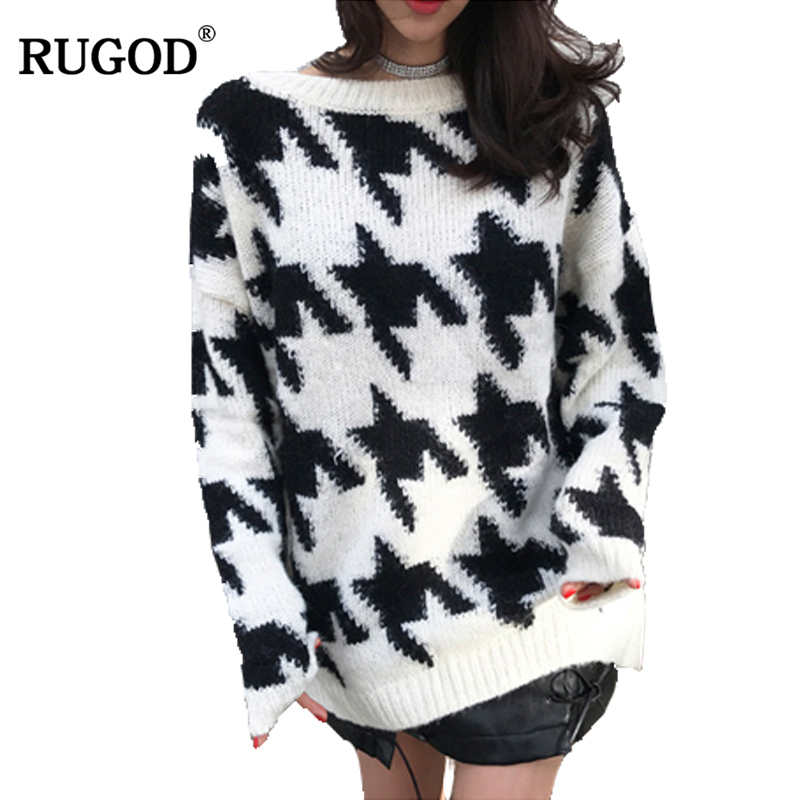 RUGOD O-neck Long Sleeve Christmas Sweater Geometric Pattern Female Pullover Casual High Quality Loose Pull Femme Hiver