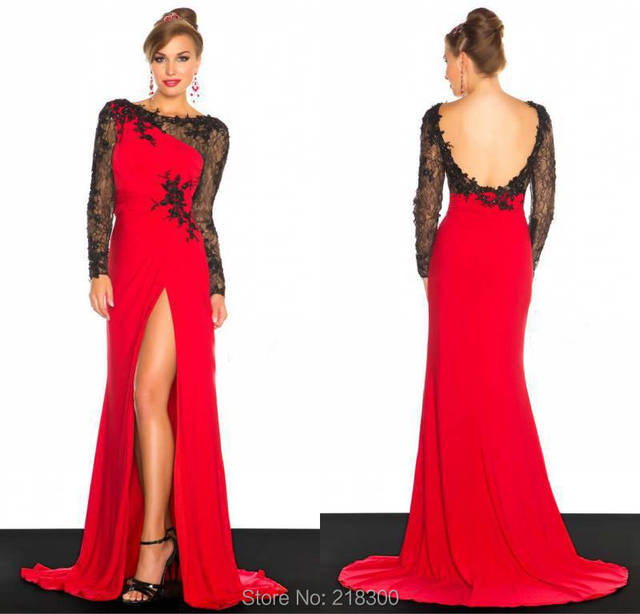 Lace black and red prom dresses