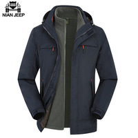 NIAN JEEP Brand Clothing 2018 New Style Winter Dress Men Windbreaker Jackets and Coats 3 in 1 Liner and Hat Detachable 130