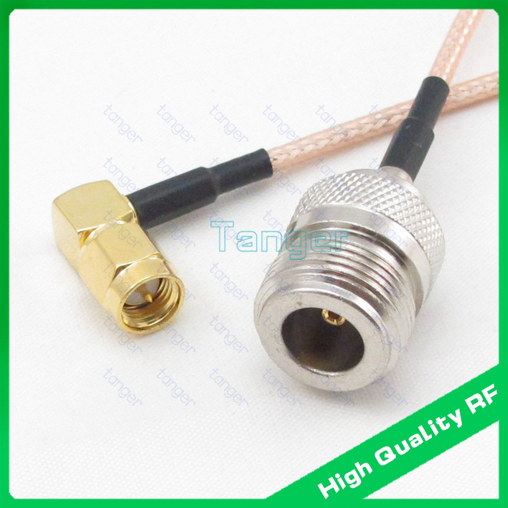 20'' RF cable SMA male 90 degree to N type female connector with RG316 RG-316 Coaxial Pigtail Jumper Low Loss cable 20inch 50cm 10pcs 6in mmcx male plug to fme male plug rf adapter connector 15cm pigtail coaxial jumper cable rg316 extension cord