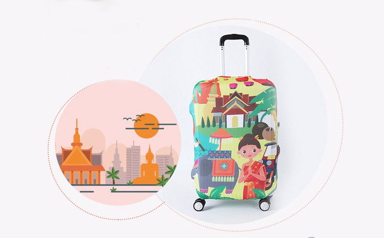 TRIPNUO Thicker Blue City Luggage Cover Travel Suitcase Protective Cover for Trunk Case Apply to 19''-32'' Suitcase Cover 16