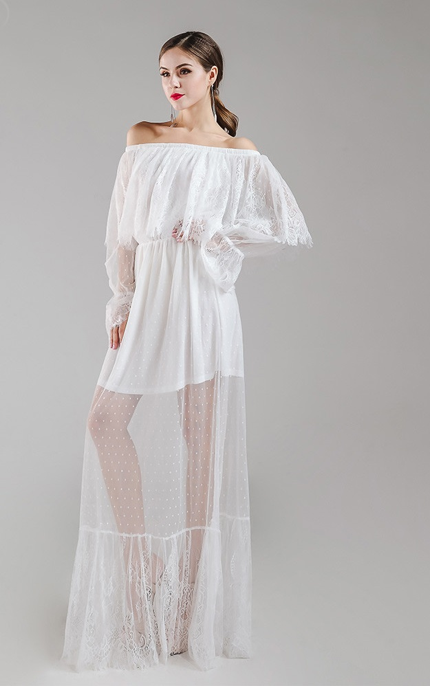 See Thru White Maxi Dress