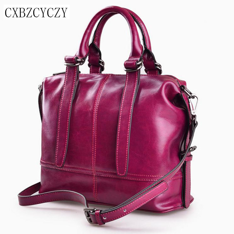 Fashion Brand Genuine leather Women Handbag Europe and America Oil Wax Leather Shoulder Bag Casual Women Messenger Bags Bolso hot fashion europe and the united states fashion oil wax kraft handbag vertical section zipper multi color ladies shoulder messe
