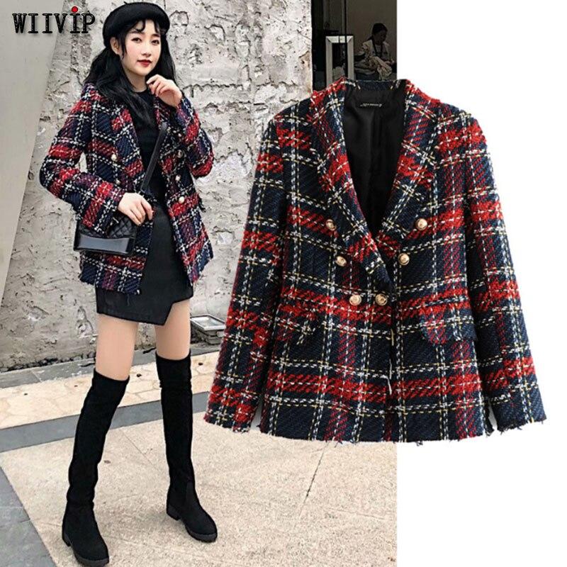 e76c7066bb4 Новая повседневная твидовая клетчатая Блейзер женская красная смесь зимняя  куртка пальто Mujer модная офисная Женская куртка пальто осень .