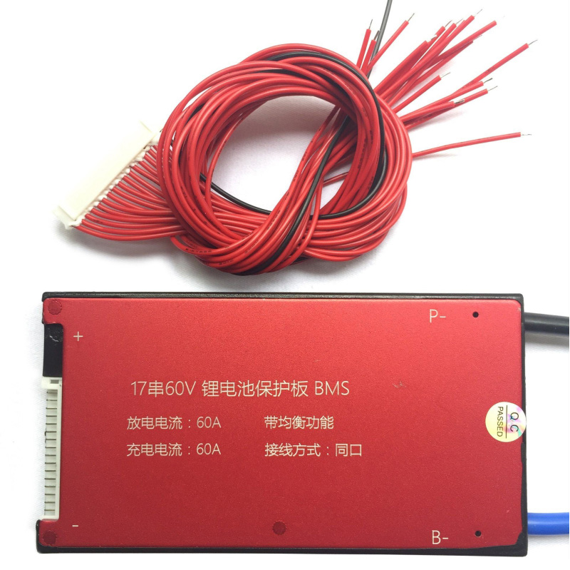 17S 60V 25A 35A 45A 60A BMS Battery Management System PCM PCB for 18650 Lithium Battery Pack With Balance