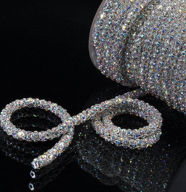 INS HOT New Strass Tube Clear AB Crystal Rhinestone Chain Apparel Strass Crystal Plating Gold/Silver Weding Decoration Cyrkonie
