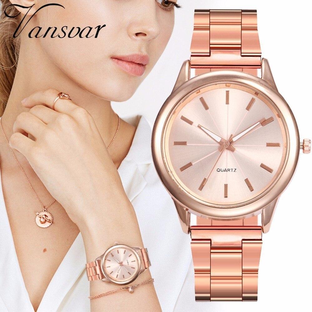 Women Rose Gold Steel Wrist Watches Fashion Luxury Women Simple Dial Quartz Watch Clock Relogio Feminino Drop Shipping