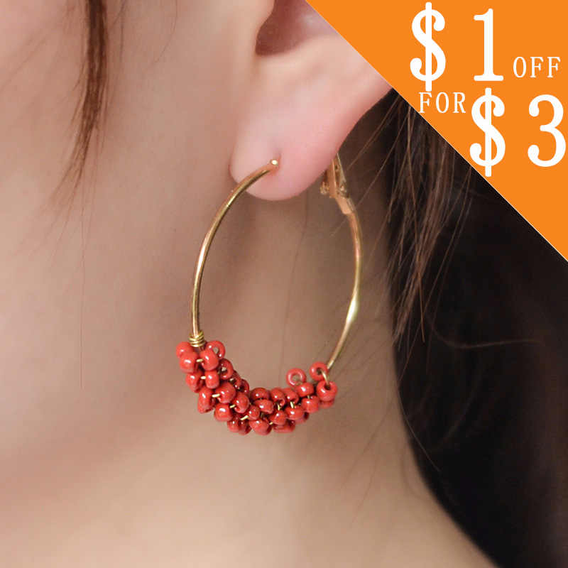 Personality Beads Circles Hoop Earrings For Women Fashion Jewelry Trendy Round Circle Earrings CS17L