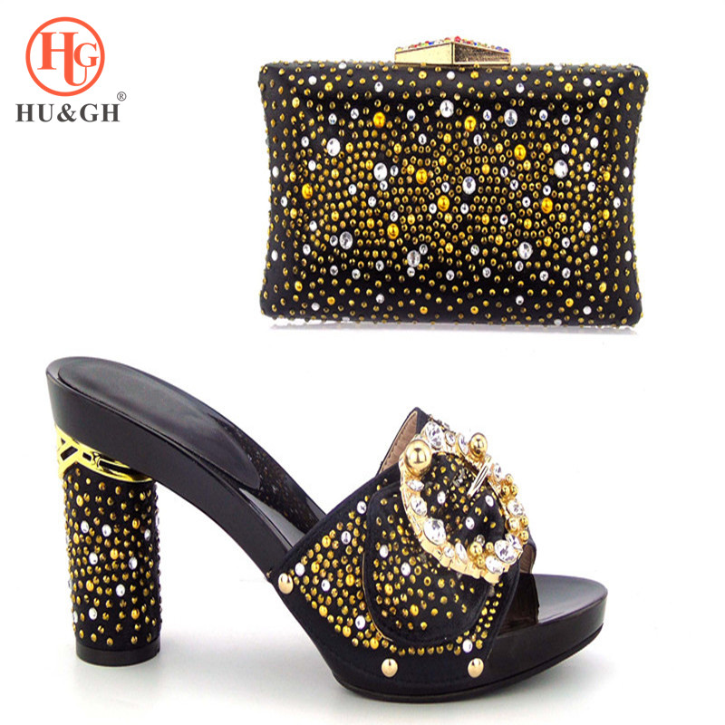 Black Italian Shoes with Matching Bags for Wedding Women Shoes and Bag to Match for Parties African Nigerian Shoes and Bag Sets shoes and bag to match italian matching shoe and bag set african wedding shoes and bag to match for parties doershow hlu1 37