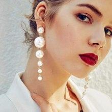 Trendy Elegant Created Big Simulated Pearl Long Earrings Pearls String Statement Dangle Statement Multiple Pearls Long Earrings
