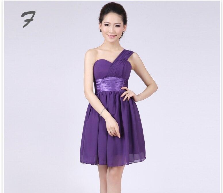 Berenjena de dama de honor corto púrpura vestidos de longitud de ...