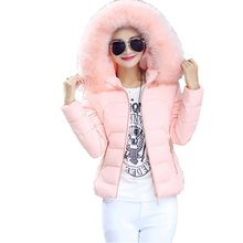 2016 winter wadded jacket women short slim down cotton-padded coat big faux fur collar hooded wadded outerwear kl0586
