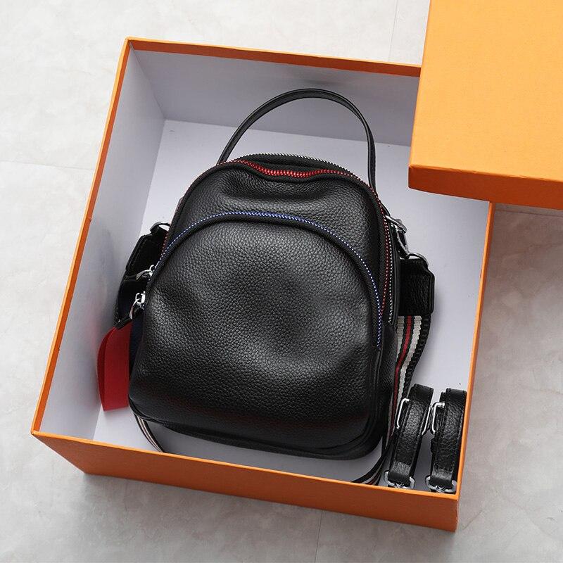 2019 春のコントラスト色牛革女性バッグパック韓国ソフトレザーミニバックパックプレッピースタイルガールスクールバッグ 3 ストラップ  グループ上の スーツケース & バッグ からの バックパック の中 1