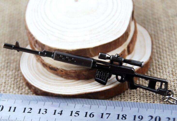 SOSW-Mini Dragunov Sniper Gun Model Pendant Lobster Hook Chain Gray