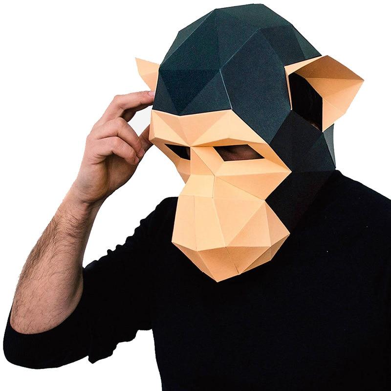 Monkey DIY Mask Cosplay Christmas Costume  Adult Children Cardboard Breathable Halloween Ricky Funny Masks