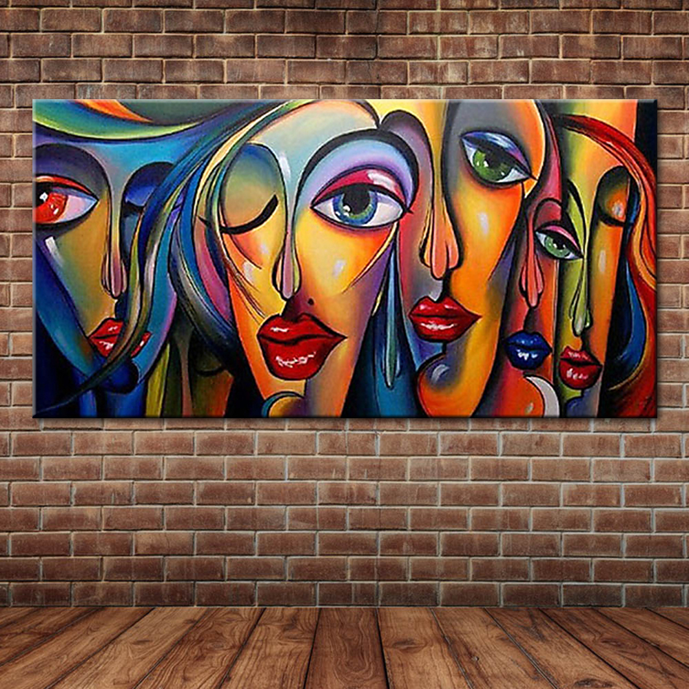 Modern Pop Art Sexy Women's Faces Oil Painting People ...