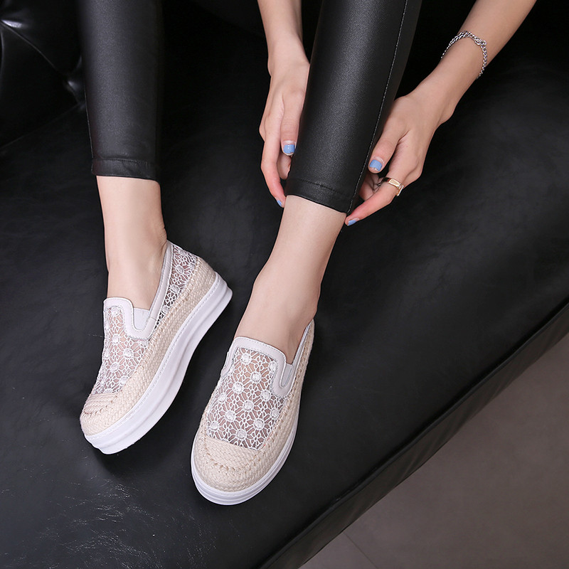 plus size35-43 Casual Women Shoes flat Platform breathable Shoes Woman Flats Round Toe Ladies Flats Shoes lace Zapatos Mujer plus size 34 43 new platform flat shoes woman spring summer sweet casual women flats bowtie ladies party wedding shoes