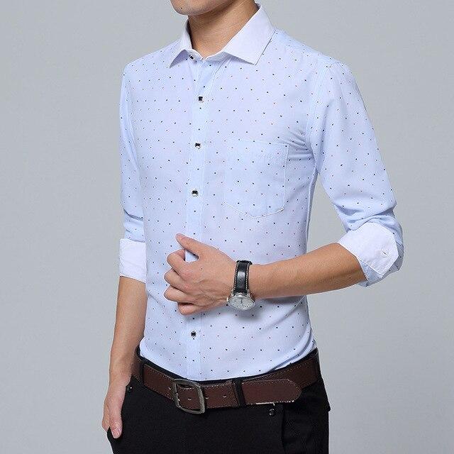 2017 новый печати лацкане рубашки мужские деловые рубашки мужские самосовершенствование бизнес длинный круглый точка рубашка