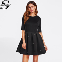 Sheinside Pearl Beading Boxed Pleated Flare Dress Black Round Neck Half Sleeve Fit A Line Dress
