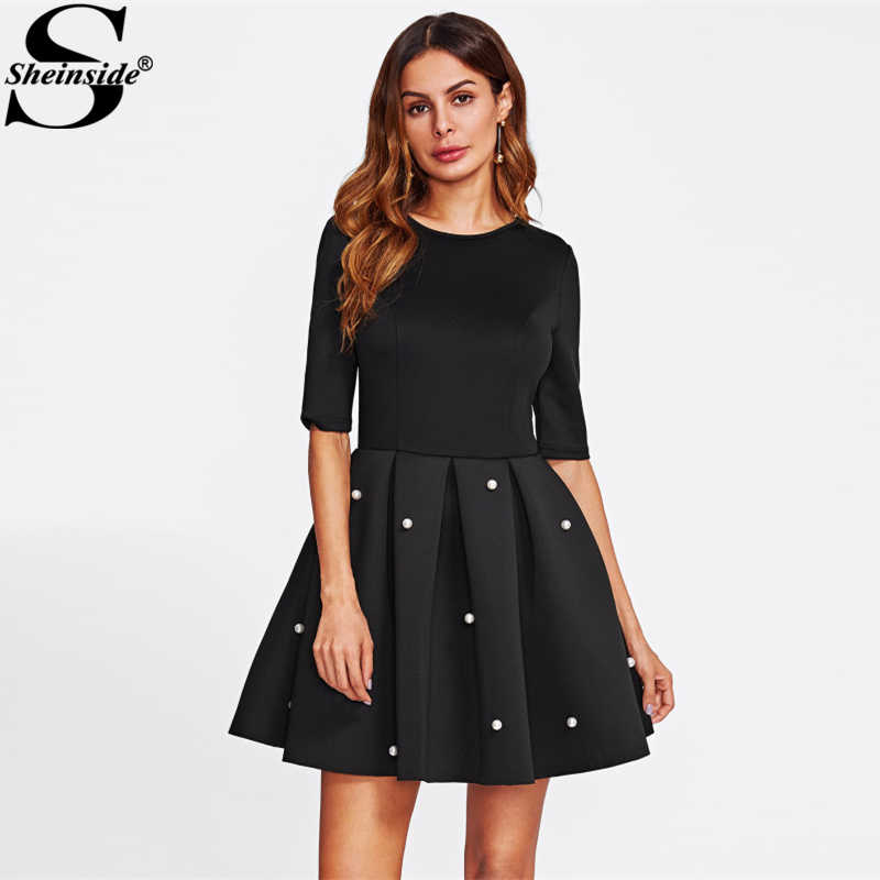 Sheinside Pearl Beading Boxed Pleated Flare Party Dress Black Round Neck Half Sleeve Fit A Line Dress Women Elegant Winter Dress
