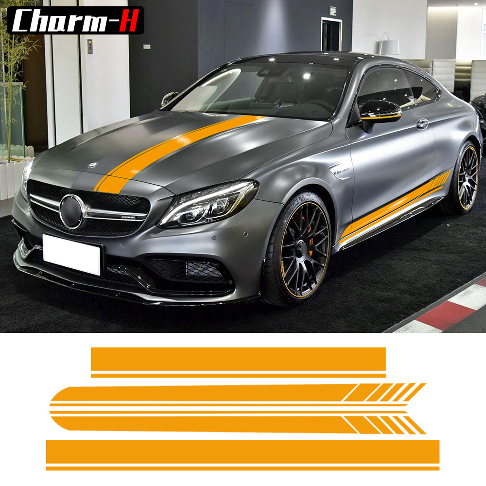 Edisi 1 Side Stripes Top Hood Roof Bonnet Decal Pelekat untuk Mercedes Benz C63 AMG Coupe C200 C250 C300 Yellow / 5D Carbon Fiber