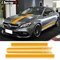 Edizione 1 Side Stripes Top Cappuccio Tetto Cofano Autoadesivi Della Decalcomania per Mercedes Benz C63 AMG Coupé C200 C250 C300 Giallo /5D In Fibra di Carbonio