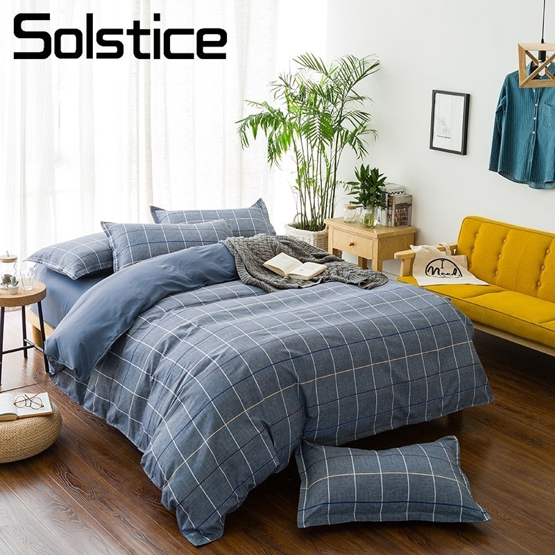 Solstice Home Textile Double Twin King Bedding Set Nordic Brief Teen Kid Boy Girl Bedlinen Duvet Cover Pillowcase Flat Bed Sheet