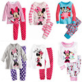 Baby Girls Sweet Pajama Sets Cute Minnie Mouse Causal Cotton Tops And Dot Prinitng Pants Kids Girls Lovely Sleepwear Suit