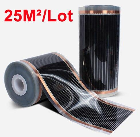 110 Вт/м 25M2 Ширина 0,5 м Длина 50 м Электрический инфракрасный пол углерода Отопление фильм 220V-240VAC 50/60 Гц Главная потепление коврик