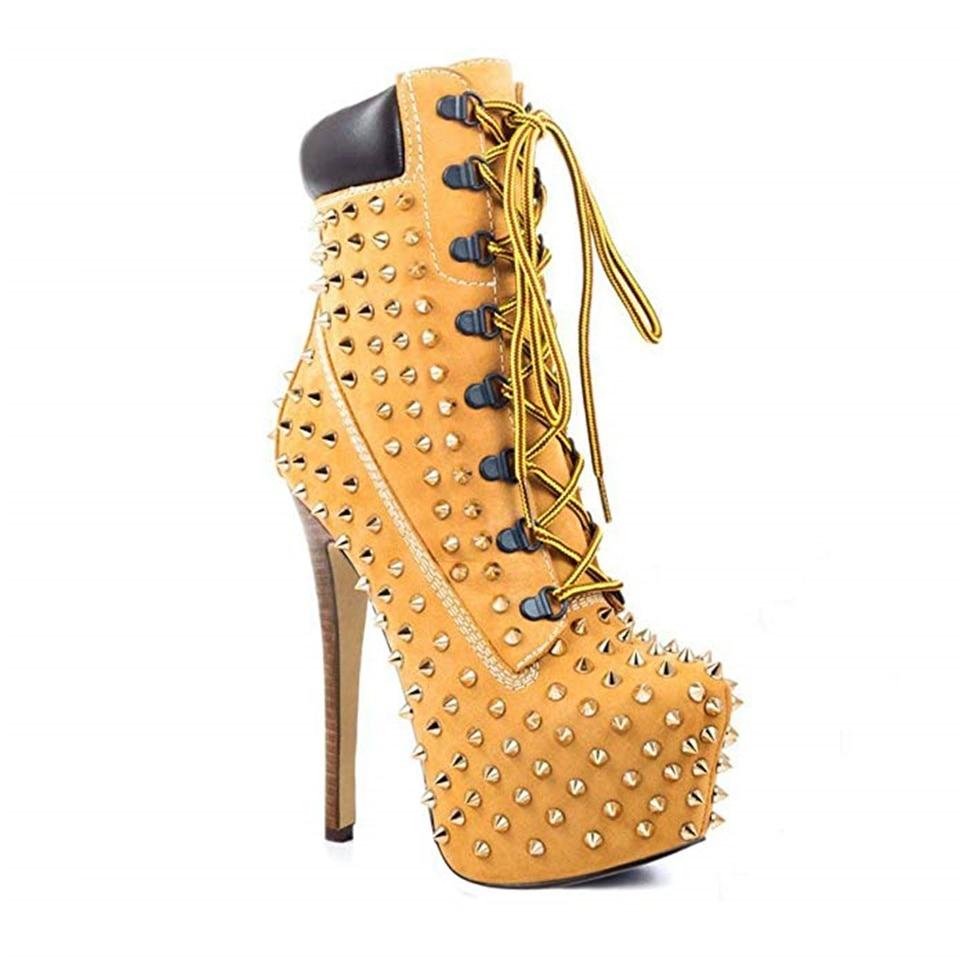 Модные женские ботинки; сезон весна осень красивые декоративные заклепки на высоком каблуке 14 см с перекрестными ремешками; женские ботинки на платформе - 3
