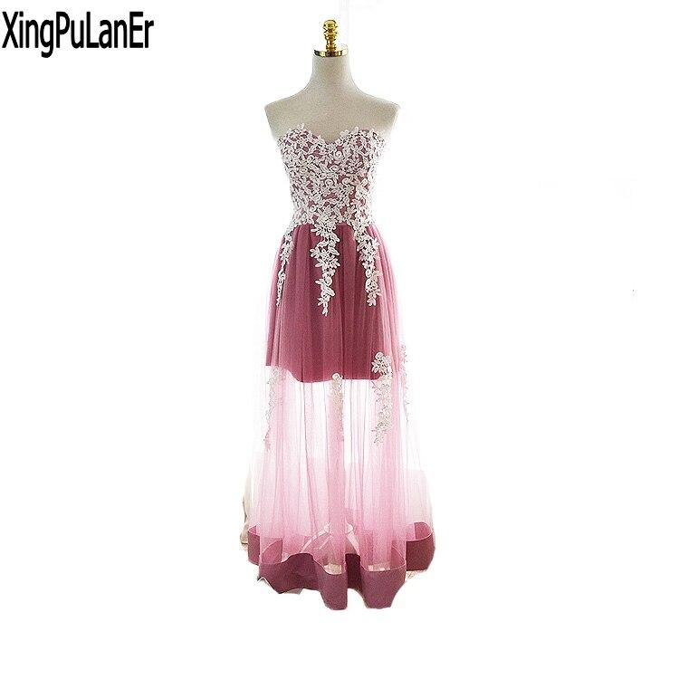 XingPuLanEr robe de soirée une ligne chérie Sexy chaud voir à travers la dentelle blanche Appliques Tulle longues robes de soirée