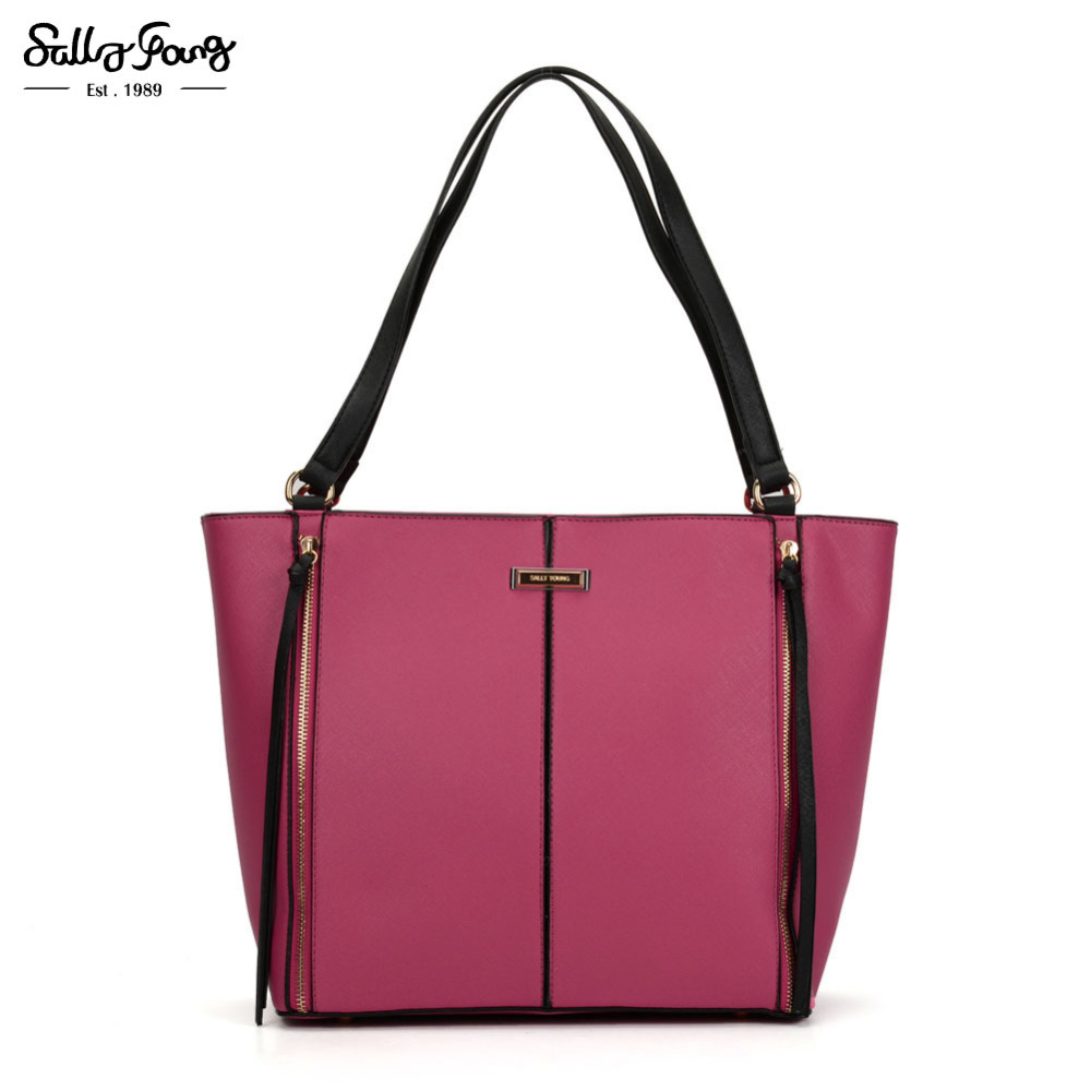 2017 International handbags Fashion Women Solid Patchwork Tote Bag Zipper Decoration Tassels Shoulder bags for women SY2118 sannen 7l double decker cooler lunch bags insulated solid thermal lunchbox food picnic bag cooler tote handbags for men women