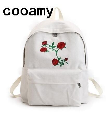 b02780cca724 Embroidery Women Backpack Schoolbag Korean Rucksack Cut School Bags For  Teenager Girls Student Bag Canvas Backpacks