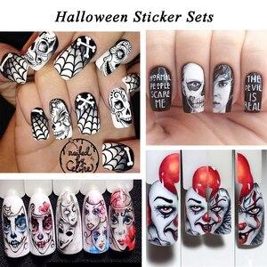 Image 5 - Full Beauty 1 Set Halloween Water Transfer Nail Art Sticker Skull Ghost Clown Pumpkin Manicure Nail Slider Decal Decor CHSTZ/A