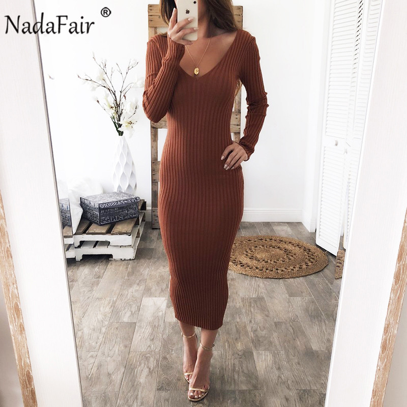 Nadafair Knitted Sweater Dress Women Long Sleeve Sexy Midi Bodycon Dress Black White Red Long Stretchy Knitted Winter Dress Платье