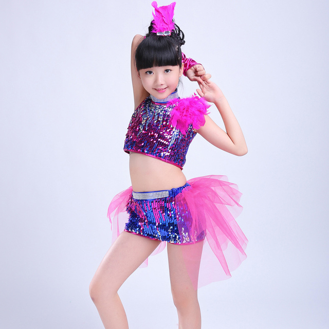 33ed12d27132 Girls Sequin Ballroom Jazz Hip Hop Dance Competition Costume Tank ...