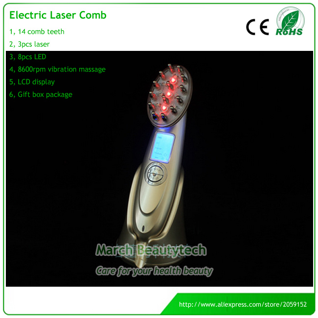 4 IN 1 LED Infrared Therapy Hair Regrowth Microcurrent Head Massage EMS RF Laser Comb Rejuvenator